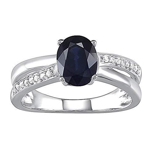 Pipa●Bella Womens Sapphire Plus echte diamanten ring in 925 sterling zilver verloving bruiloft en belofte Ring Band (I-J kleur, I2 I3 duidelijkheid) blauw