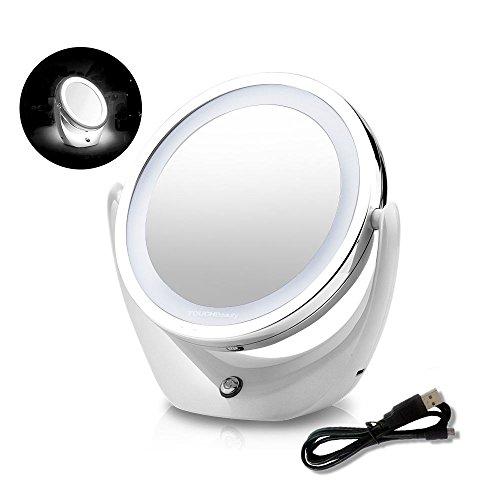 TOUCHBeauty runder Kosmetikspiegel - Aufladbarer Tischspiegel mit LED Beleuchtung und 5-facher Vergrößerung - Schminkspiegel mit 360° Schwenkfunktion Doppelseitiger AG-1276