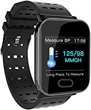 BOND A6 Big Color Screen Smart Watch Heart Rate Monitor Sport Fitness Tracker Sleep Monitor Waterproof Sport Watch Band for iOS Android Gifts (Black)