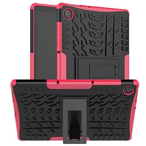 DWaybox Custodia per Lenovo Tab M10 HD 2nd Gen TB-X306F/TB-X306X Armatura Robusta Heavy Duty 2in1 Combo Dual Layer Cover per Lenovo Tab M10 HD Gen 2 Tablet da 10.1 Pollici con cavalletto -Rosa Caldo