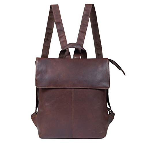 STILORD 'Charlie' Vintage Leather Backpack Brown Satchel for Women Men Unisex Daypack for 13,3 Inch MacBook Laptop Rucksack in Genuine Leather, Colour:Cognac Dark Brown