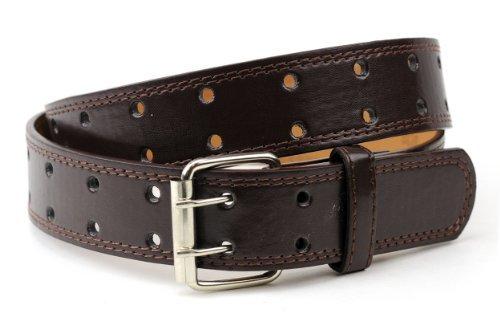NYFASHION101 Merveilleuse ceinture unisexe en cuir véritable à deux trous. Classique et intemporelle, cette ceinture se porte au quotidien.