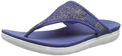 Fitflop Uberknit Toe-Thong Sandals, Sandali Punta Aperta Donna, Blu Indiano Metallizzato 613, 42 EU