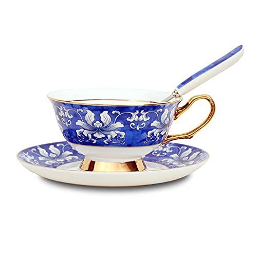ZCCLCH Tazas de café de la china de los huesos, con la taza de oro y el conjunto del platillo, la taza de café del patrón de la flor, 7.03 oz estilo chino tazas de agua tazas de leche, adecuado para r