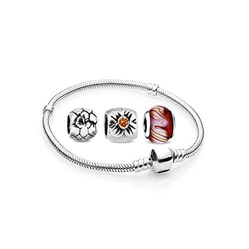AKKi jewelry Charms Beads Armband und 3 Anhänger Starter-Set - Angebot Zirkonia Murano Glas bettelarmband Pandora Style kompatibel Damen Schmuck Geschenk Idee 23cm
