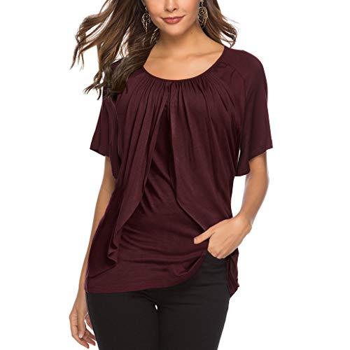 Innerternet Damen Sommer T-Shirt Kurzarmshirt V-Ausschnitt Lässige Stretch Bequeme lässige Bluse Tops Oberteil Einfarbig Kurzarm T-Shirt Casual Bluse Tunika Top