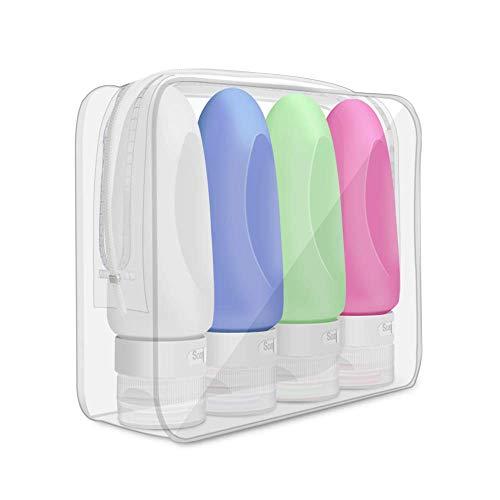 Letour Botella de Viaje 4 Pack TSA aprobó la Botella de Viaje de Silicona a Prueba de Fugas (89ml) para champús, lociones y artículos de tocador, FDA Certified BPA Free