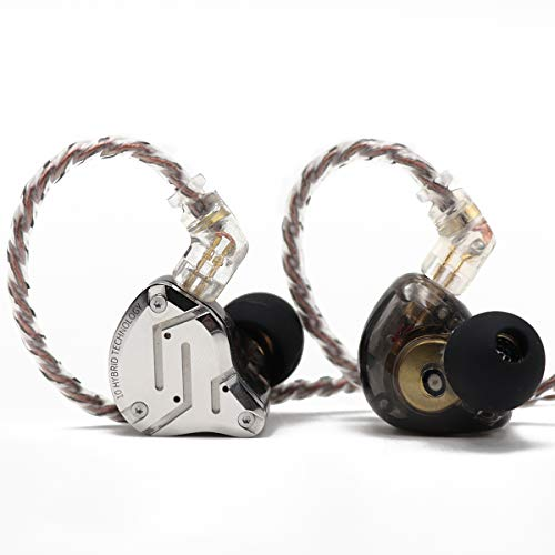 Linsoul KZ ZS10 Pro 4BA+1DD 5 Driver in-Ear HiFi Metal Earphones with Stainless Steel Faceplate, 2 Pin Detachable Cable (with Mic, Black)