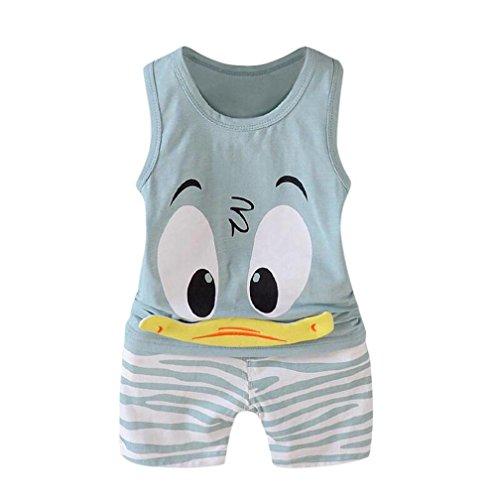 QinMM niños Bebes Animados Pato Camiseta + Pantalones Cortos Conjunto, Camisa sin Mangas (Verde, 3 años)