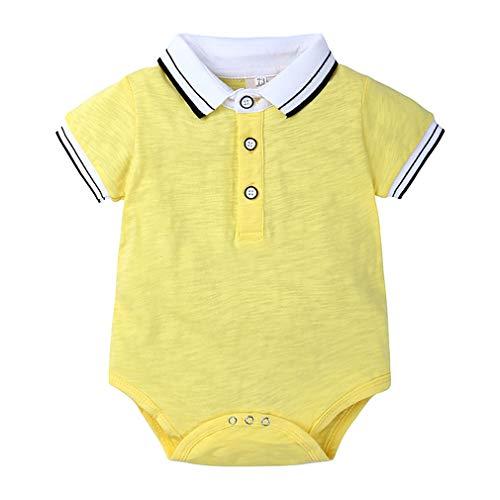 Kinder Kurzarm Polo Shirt Junge Revers gestreiften Dreieck Klettern Baby einteiligen Kurzarm Overall Jumpsuit