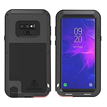 LOVE MEI Powerful Series for Samsung Galaxy Note 9 Case Shockproof Military Grade [Without Screen Protector] Hybrid Metal and Silicone Sturdy Heavy Duty Defender Case for Samsung Note 9  Black