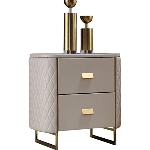 LIUXING-Home Nightstand Side Table Light Luxury Leather Art Bedside Cabinet Bedside Cabinet Wind Locker Storage Cabinet For Living Room (Color : Coffee color, Size : One size)