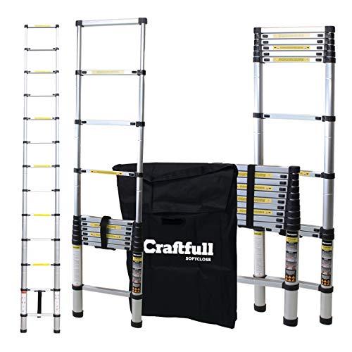 Craftfull Aluminium SOFT CLOSE Teleskopleiter inkl. Tragetasche - in 2/2,6/2,9/3,2/3,8/4,1/4,4 Meter - Mehrzweckleiter - Stehleiter - Aluminiumleiter - Leiter - Schiebeleiter - Aluleiter (2.9 Meter)