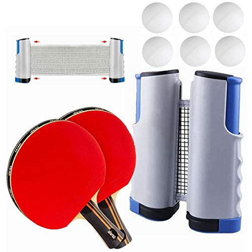 Find Bargain DOBESTS Professional Ping Pong Paddle Set Portable with Table Tennis Retratable Net and...
