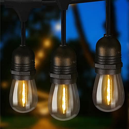ZMH LED Lichterkette außen Balkon Deko - 15M outdoor Lichterkette Glühbirnen Garten Beleuchtung S14 Warmweiß 15er mit 1 Ersatzbirne IP65 Wasserdichte für Party Weihnachten Terrasse - Strombetrieben