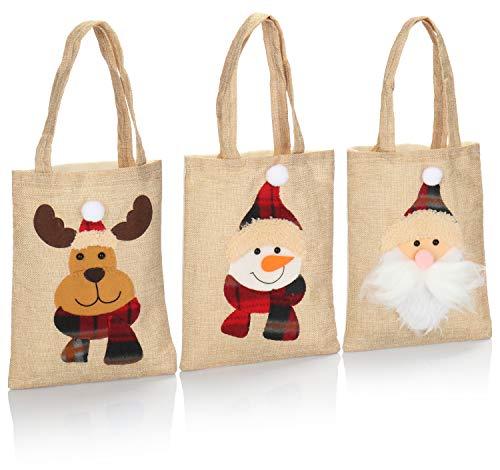 com-four® 3X Hochwertige Geschenktüte für Weihnachten aus Jute mit Henkel - Geschenktasche für Nikolaus und Advent, Santa, Elch, Schneemann - 19 x 25 cm