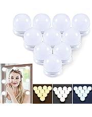 Led-spiegellampenset, Hollywood-stijl, USB-kabel, 10 lampen met dimfunctie, 3 kleurmodi & 10 helderheid, doe-het-zelf-spiegelverlichting voor make-upspiegel, make-uptafel (geen spiegel & USB-oplader)