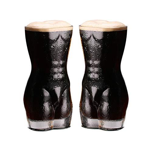 HUIJ Sexy Torso Jarra de Vidrio de Cerveza,Copa de Vino de chupito Sexy,Creativa Sexy Lady Men Vasos Transparentes de Pared Duradera Vaso de chupito de Vino Copa de Cerveza de Pecho Grande