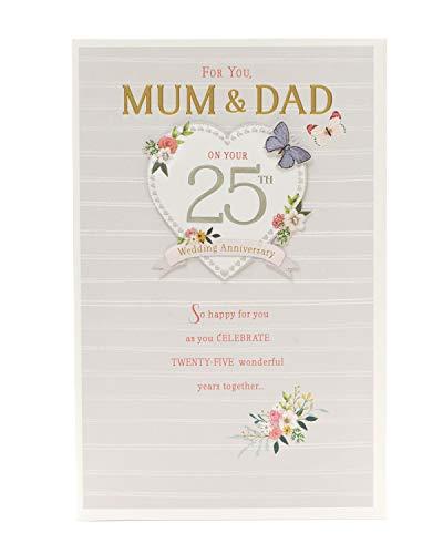 Tarjeta de felicitación de 25 aniversario de boda para mamá y papá, aniversario de boda de plata