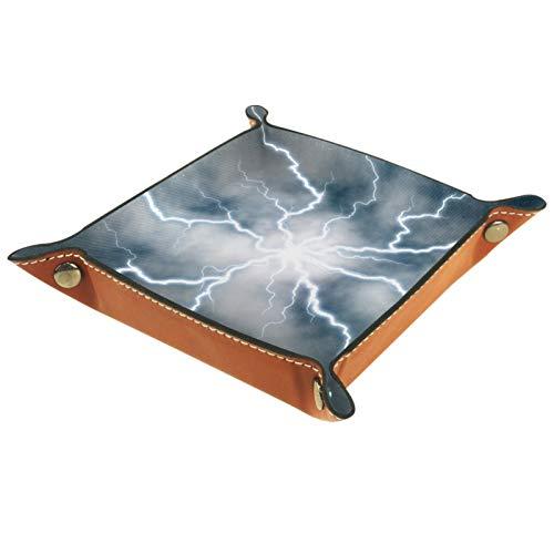 Yitian bandeja de cuero PU joyería Catchall descarga eléctrica para cambio joyería...