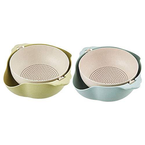 Fransande - Vaschette per colino, 2 in 1, confezione da 2 cestelli di scarico staccabili a doppio strato, per la pulizia dei frutta, colore: Verde e Blu