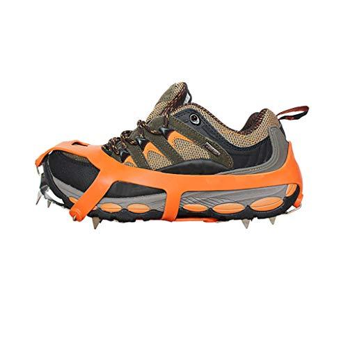 Cyeer Ski Skates for Snow, Anti-Slip18 Zähne Stahleis Greifer Spike Schuhe Decken Schnee Klettern Stollen Steigeisen (Orange, L)