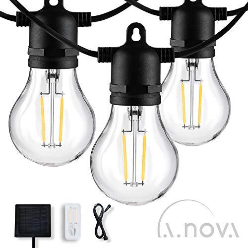 L.A.NOVA Solarbetriebene LED-Lichterketten A60 5 m mit 10 Glühbirnen und Verlängerungskabel, IP44-Außenlichterketten für Party, Hinterhof, Garten, Rasen