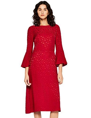 find. Damen Kleid mit Rüschen und 3/4-Arm, Rot (Red), 38 (Herstellergröße: Medium)