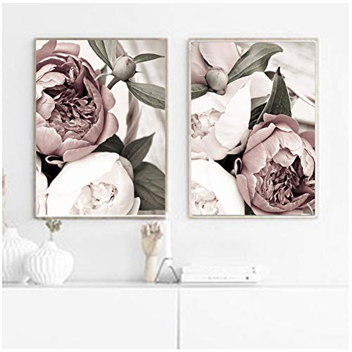 wzgsffs Nordic Minimalist Poster and Print Pink Blush Peony Flower Room Decor Canvas Painting Wall Art Picture for Living Room -50x70cm No Frame