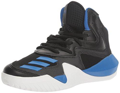 adidas Crazy Team Basketball Shoe, Black/Blue/Light Solid Grey, 4 M US Big Kid