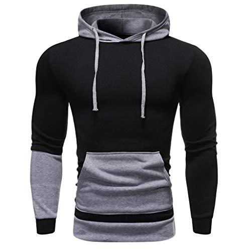 UINGKID Sweat à Capuche Homme Slim Fit Splice Couleurs Contrastées Pull Hoodie à Capuche Manche Longues Sweatshirts avec Poche M-3XL