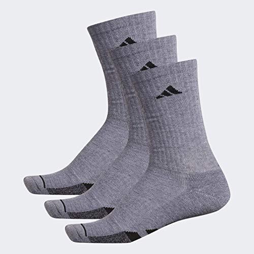 adidas Calcetines acolchados para hombre (paquete de 3), Hombre, Calcetines, 104452, Gris Heather/Grey Heather-Black Marl/Negro, Large (Shoe Size 6-12)