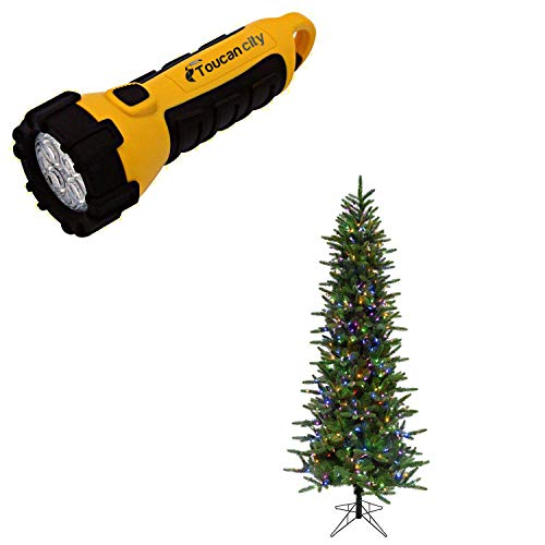 Toucan City LED Flashlight and Fraser Hill Farm 9 ft. Carmel Pine Slim Artificial Christmas Tree with Multi-Color LED String Lighting FFCP090-6GR