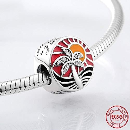 Co-Location Bedel voor dames, 925 zilver, zoete nagellak, rood surf, kokosboom, vorm armband met charme voor dames, verjaardagscadeau