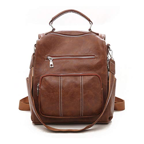 Ladies Backpack Fashion Soft PU Leather Backpack Casual School School Bag Anti-Theft Backpack