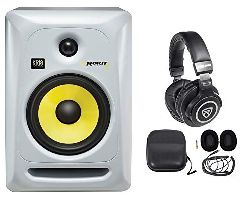 Best Deals! KRK RP6G3W Rokit White 6 Active Powered Studio Monitor Speaker + Headphones