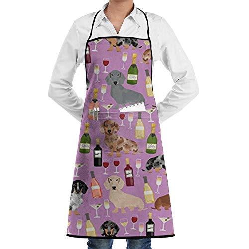 AllenPrint Delantal De Cocina,Delantal De Chef De Vino Dachshund, Delantales De Cocina Unisex para Cocinar, Hornear, Jardinería,52x72cm