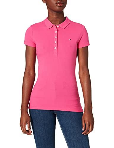 Tommy Hilfiger Short Sleeve Slim Polo Camiseta sin Mangas para bebés y niños pequeños, Pink, Metro para Mujer