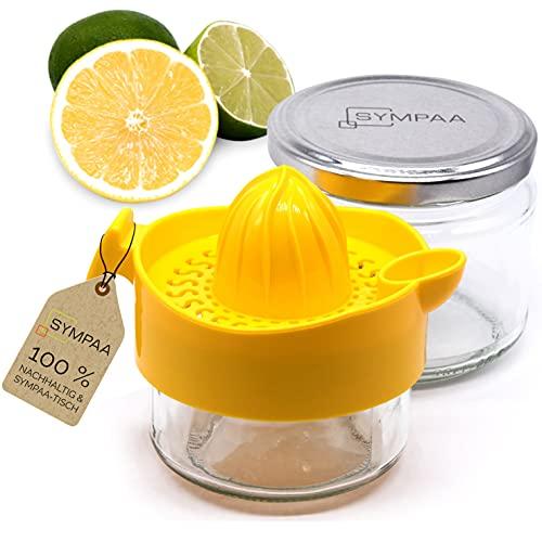SYMPAA Zitronenpresse Comfort Plus 2 Glas Entsafter mit Deckel Saftpresse manuell - Zitruspresse Limettenpresse - Zitronenpressen + im Kühlschrank Aufbewahren - Nachhaltig Saft Pressen