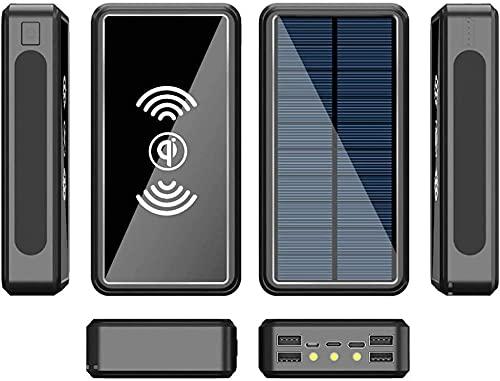 Cargador solar 100000mAh Banco de energía solar portátil para teléfono celular con PD22 5W USB C y 3 linterna 6 Salida y batería de respaldo externo a prueba de agua compatible con todos los telé
