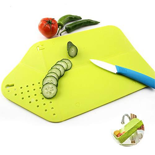 Tabla de cortar plegable, tabla de cortar plegable, tabla de cortar multifunción, tabla de cortar portátil, cesta de verduras de cocina, práctica asa