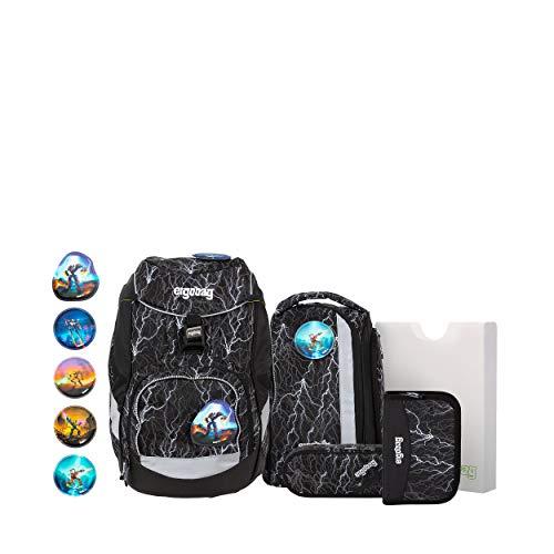 ergobag pack Set - ergonomischer Schulrucksack, Set 6-teilig - Super ReflektBär Glow - Black