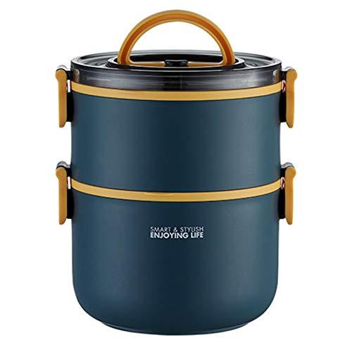 Sebasti Fiambrera de acero inoxidable, redonda y portátil, de doble capa, caja de almuerzo de plástico con aislamiento térmico, azul, doble capa, 14,5 x 18,1 cm