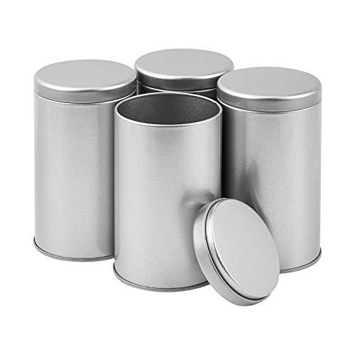 OLYCRAFT 6 Pieza Bote de Té Caja de té Metálico Lata de té Metálica Contenedor Cilíndrico Tarro de Cocina Plata Mate para Cuentas Joyería Departamento de Custodia