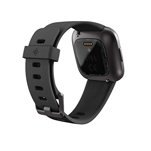 Fitbit Versa 2 Health and Fitness Smartwatch with Heart Rate, Music, Alexa Built-In, Sleep and Swim Tracking, Black/Carbon, One Size (S and L Bands Included)
