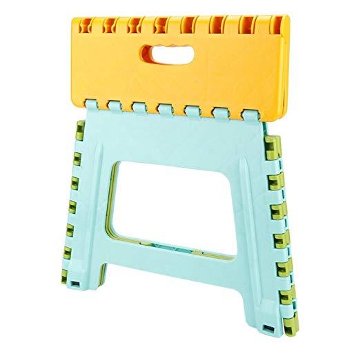 Taburete de escalera plegable con alfombrilla antideslizante con hebilla de seguridad 32 * 22.5 * 30cm para bocetos de pesca 100% nuevo(Lado amarillo, fondo azul y verde)