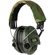 Sordin Supreme PRO X SOR75302-X-G-S - Active Adjustable Ear Muffs - Hearing Protection - Gel Seals - Camo Canvas Headband and Green Cups