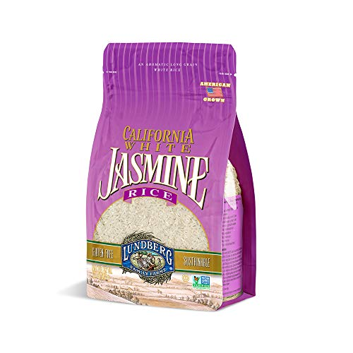 California White Jasmine Rice, Floral Scent, Fluffy Texture, Buttery Flavor, Clings When Cooked, Pantry Staple, Gluten-Free, Non-GMO, Vegan, Kosher (32 oz)