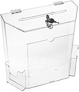 "Charity Donation Acrylic Ballot Box w/ 8"" x 4"" Frame, Lock & 2 Pockets, Wall mounting or Tabletop"