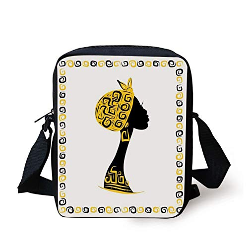 African Kids Crossbody Messenger Bag Purse,Female Head Portrait in Frame with Ornament Lines Design,Cross Body Bags boys Girls 3D Printed Shoulder Bag,Black Earth Yellow